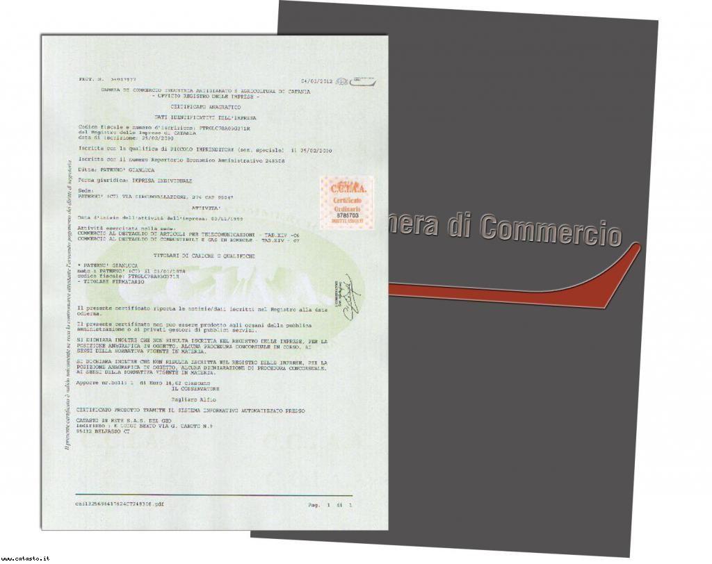 Certificato rilasciato dalla Camera di Commercio